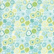 Grand Canal by Kate Spain - 5062 - Geometric Style Floral in Aqua & Green - 27254 23 - Cotton Fabric